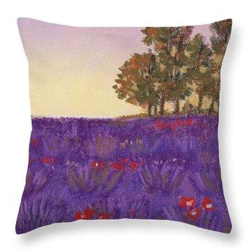 Lavender Evening Throw Pillow by Anastasiya Malakhova