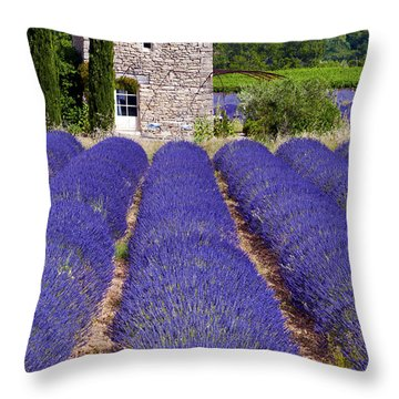 Lavender Farm Throw Pillow by Bob Phillips