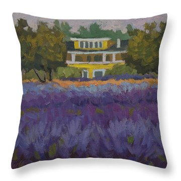 Lavender Farm On Vashon Island Throw Pillow by Diane McClary