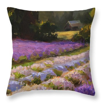 Lavender Farm Landscape Painting - Barn And Field At Sunset Impressionism  Throw Pillow