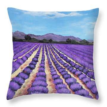 Lavender Field In Provence Throw Pillow