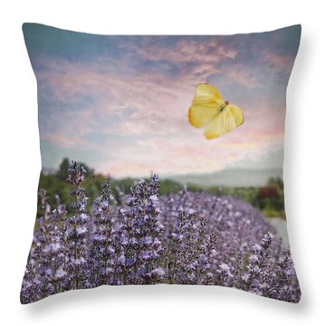 Lavender Field Pink And Blue Sunset And Yellow Butterfly Throw Pillow