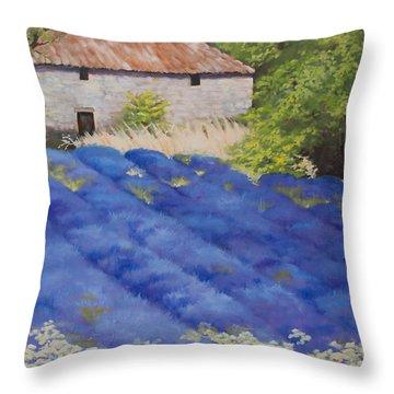 Lavender Fields Throw Pillow by Rebecca Matthews