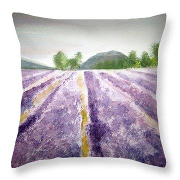 Lavender Fields Tasmania Throw Pillow