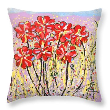 Lavender Flower Garden Throw Pillow