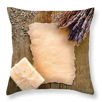 Lavender Flowers And Soap Throw Pillow by Olivier Le Queinec