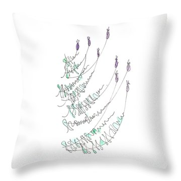 Lavender Grows From Stone Wall  Throw Pillow