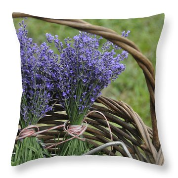 Lavender In A Basket Throw Pillow