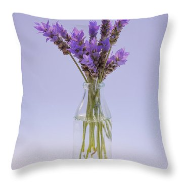 Lavender In Glass Vase Throw Pillow