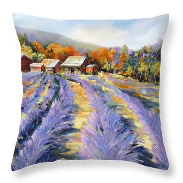 Throw Pillow featuring the painting Lavender Paths by Rae Andrews