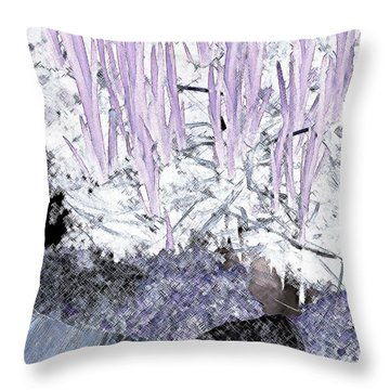 Throw Pillow featuring the photograph Lavender Pond Abstract by Ann Johndro-Collins