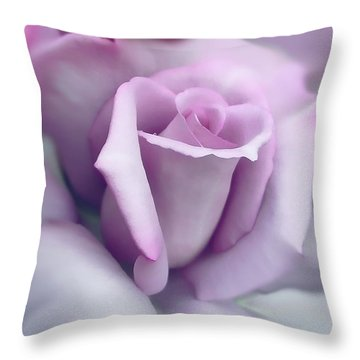 Lavender Rose Flower Portrait Throw Pillow