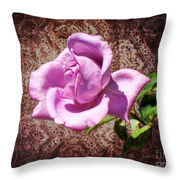 Lavender Rose Throw Pillow by Mariola Bitner