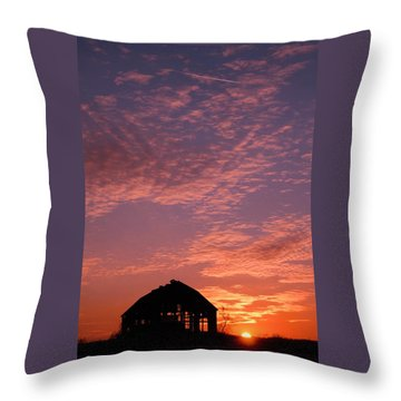 Lavender Sunset Silhouette Throw Pillow