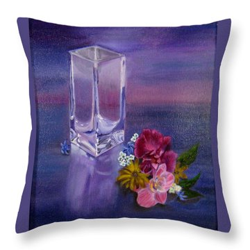 Throw Pillow featuring the painting Lavender Vase by LaVonne Hand