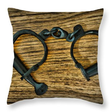 Law Enforcement - Antique Handcuffs Throw Pillow by Paul Ward