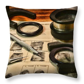 Law Enforcement - Fingerprint Analysis Throw Pillow by Paul Ward