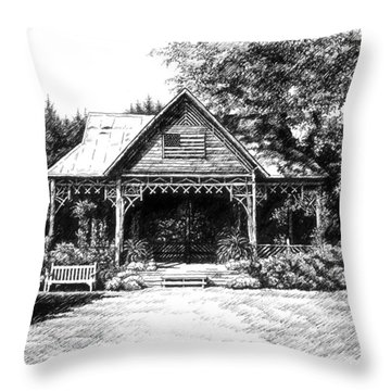 Throw Pillow featuring the drawing Lawn Chair Theater In Leiper's Fork by Janet King