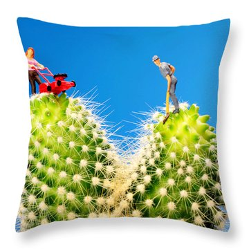 Lawn Mowing On Cactus II Throw Pillow by Paul Ge