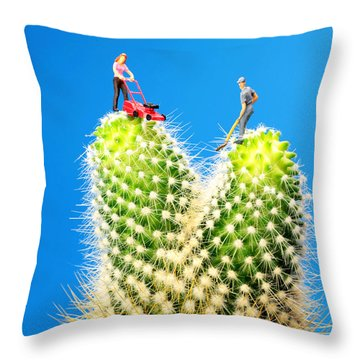 Lawn Mowing On Cactus Throw Pillow by Paul Ge