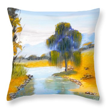 Throw Pillow featuring the painting Lawson River by Pamela  Meredith