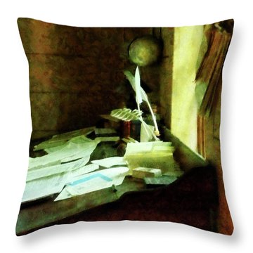 Throw Pillow featuring the photograph Lawyer - Desk With Quills And Papers by Susan Savad