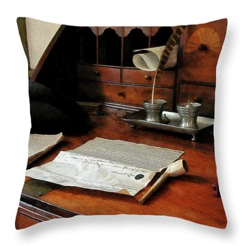 Throw Pillow featuring the photograph Lawyer - Quill Papers And Pipe by Susan Savad