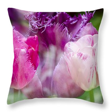 Layers Of Tulips II Throw Pillow by Penny Lisowski
