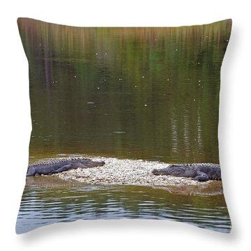 Lazy Alligators Throw Pillow