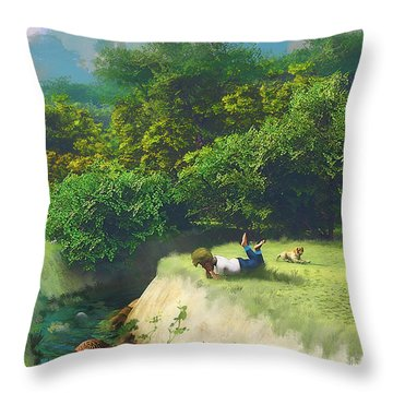Lazy Days II Throw Pillow by Ken Morris