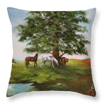 Throw Pillow featuring the painting Lazy Days In Summer by Jean Walker