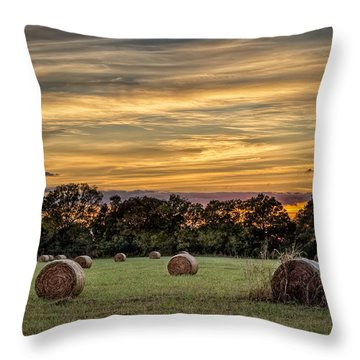 Lazy Hay Bales Throw Pillow