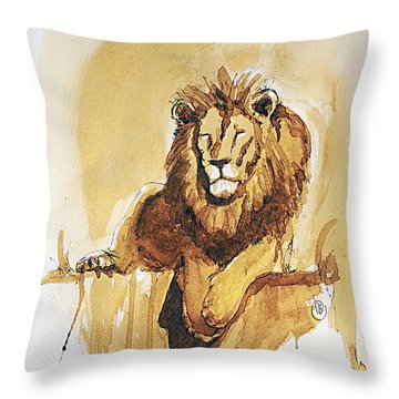 Lazy Leo Throw Pillow