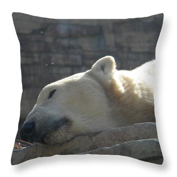 Lazy Polar Bear Throw Pillow