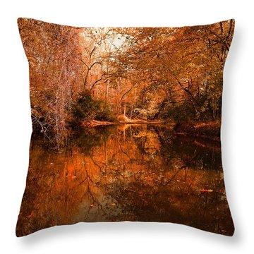 Lazy River Autumn Throw Pillow