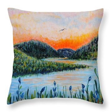 Throw Pillow featuring the painting Lazy River by Holly Carmichael