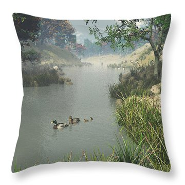 Throw Pillow featuring the digital art Lazy River by Jayne Wilson