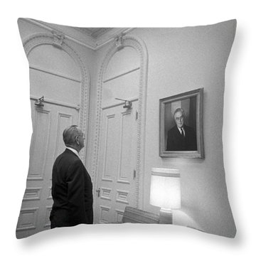 Lbj Looking At Fdr Throw Pillow