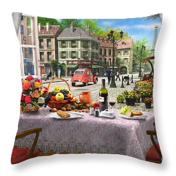 Le Cafe Paris Throw Pillow by Dominic Davison