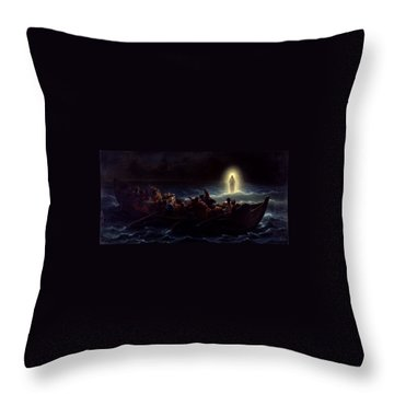 Le Christ Marchant Sur La Mer Throw Pillow