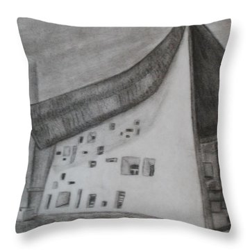 Throw Pillow featuring the drawing Le Corbusier by Thomasina Durkay