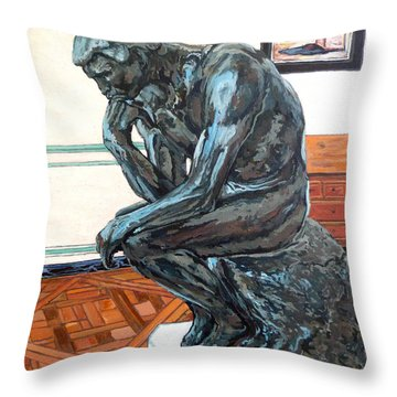 Le Penseur The Thinker Throw Pillow by Tom Roderick