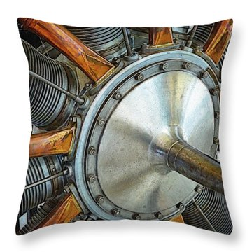 Le Rhone C-9j Engine Throw Pillow by Michelle Calkins
