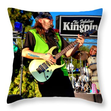 Lead Guitarist Jimmy Dence - The Fabulous Kingpins Throw Pillow by David Patterson