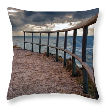 Rail By The Seaside Throw Pillow