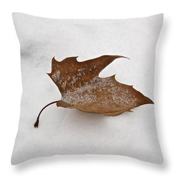 Leaf After The Snowstorm Throw Pillow