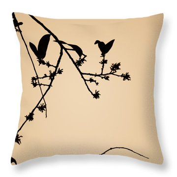 Leaf Birds Throw Pillow by Darryl Dalton