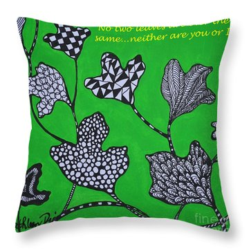 Throw Pillow featuring the painting Leaf Diversity by Kathleen Pio
