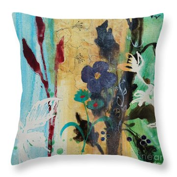 Throw Pillow featuring the painting Leaf Flower Berry by Robin Maria Pedrero