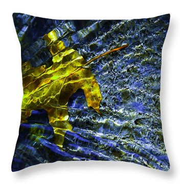 Throw Pillow featuring the photograph Leaf In Creek - Blue Abstract by Darryl Dalton
